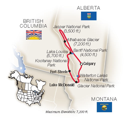 Itinerary map of Canadian Rockies & Glacier National Park