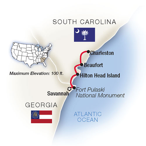 Map for Southern Charms: Savannah, Hilton Head & Charleston
