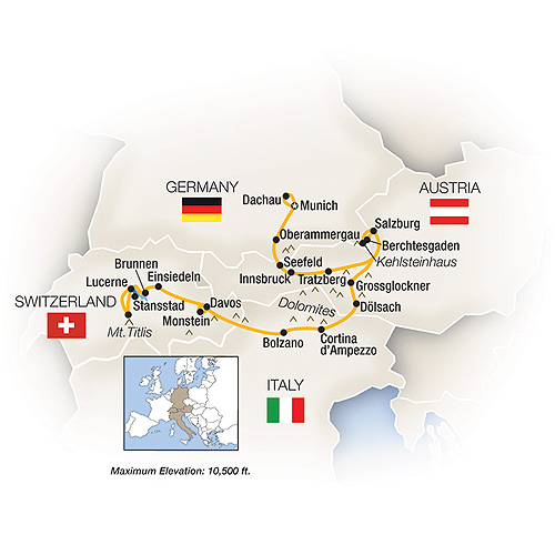Itinerary map of The Ultimate Alps & Dolomites