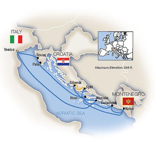 Map for Venice & the Dalmatian Coast
