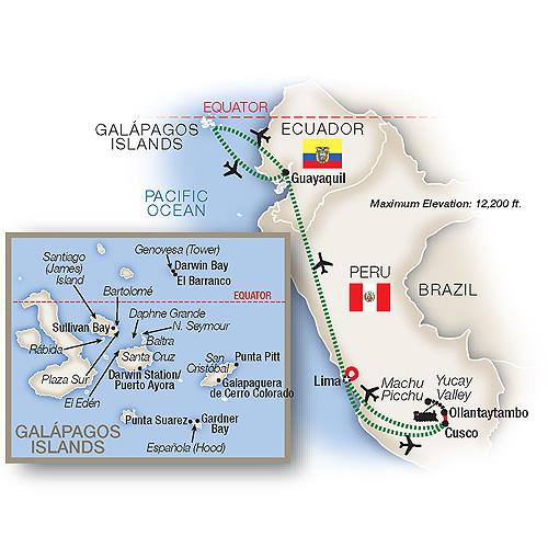 Itinerary map of Hidden Galápagos & Peru