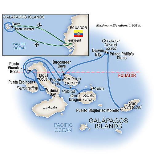 Itinerary map of Cruising the Galápagos Islands