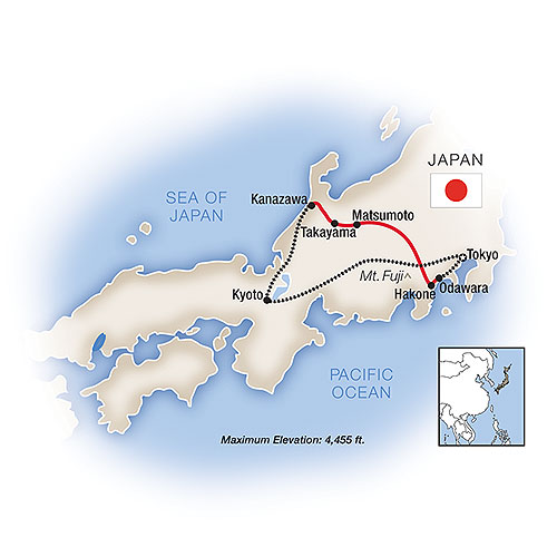 Itinerary map of Essence of Japan