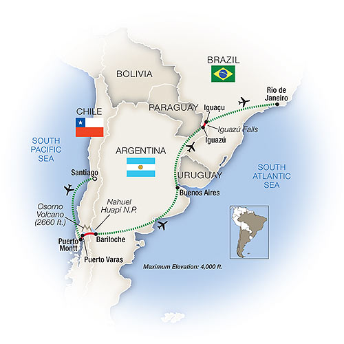 Itinerary map of Essence of South America