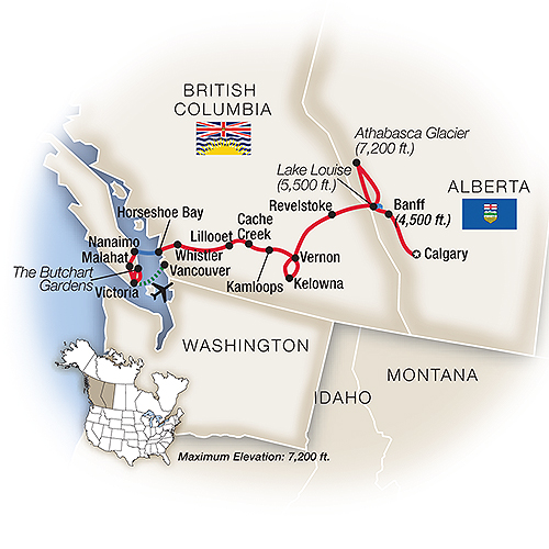 Itinerary map of Canadian Rockies, Whistler & Victoria