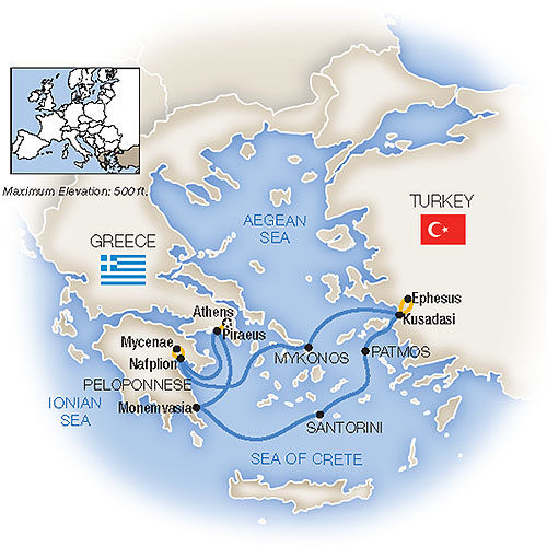 Itinerary map of Treasures of the Aegean