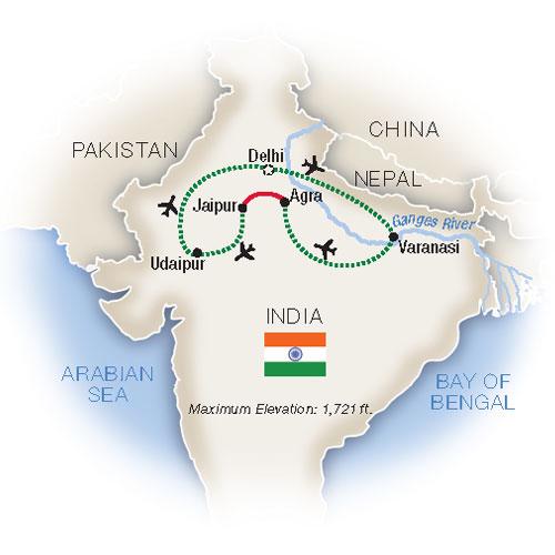 Itinerary map of Spotlight on India
