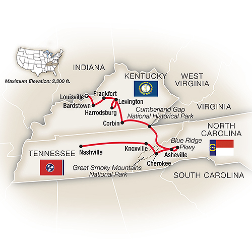 Map for Bluegrass and Blue Ridges: Louisville to Nashville
