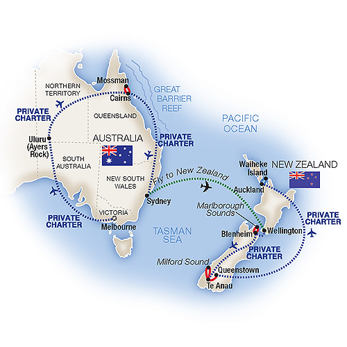 Itinerary map of Grand Australia & New Zealand