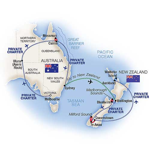 Map for Grand Australia & New Zealand