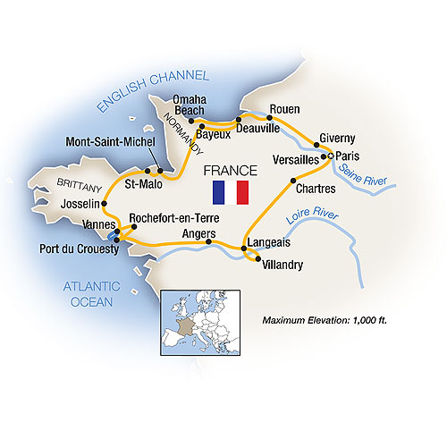 Itinerary map of Normandy, Brittany, Paris & the Loire Valley
