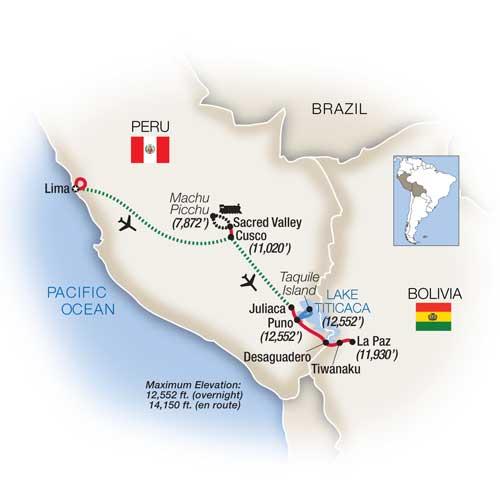 Itinerary map of Empire of the Incas: Peru & Bolivia