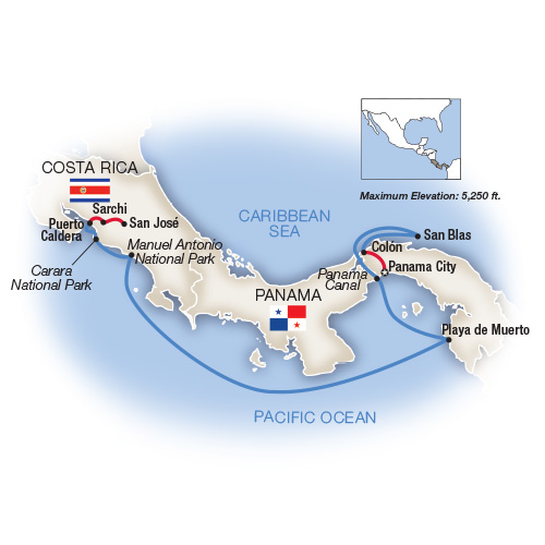 Itinerary map of The Panama Canal & Costa Rica - Westbound