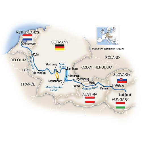 Itinerary map of Budapest to Amsterdam by Riverboat - Northbound