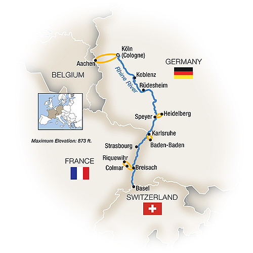 Itinerary map of Christmas Markets Along the Rhine - Southbound