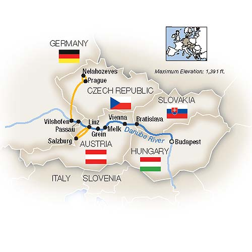 Map for Musical Magic Along The Blue Danube