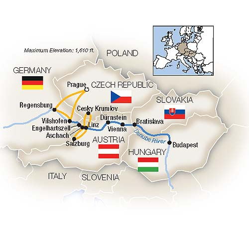 Itinerary map of The Blue Danube - Eastbound