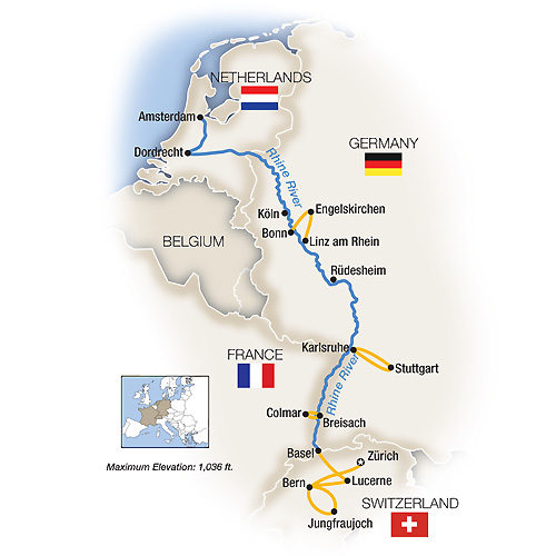 Itinerary map of The Rhine, Swiss Alps & Amsterdam - Northbound