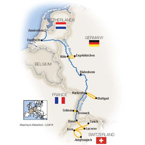 Map for The Rhine, Swiss Alps & Amsterdam - Southbound