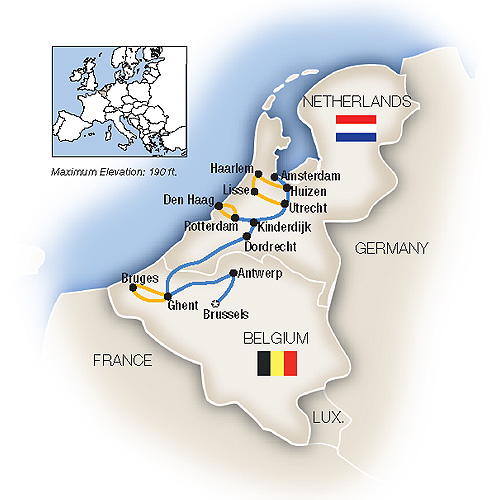 Itinerary map of Belgium & Holland in Spring - Northbound