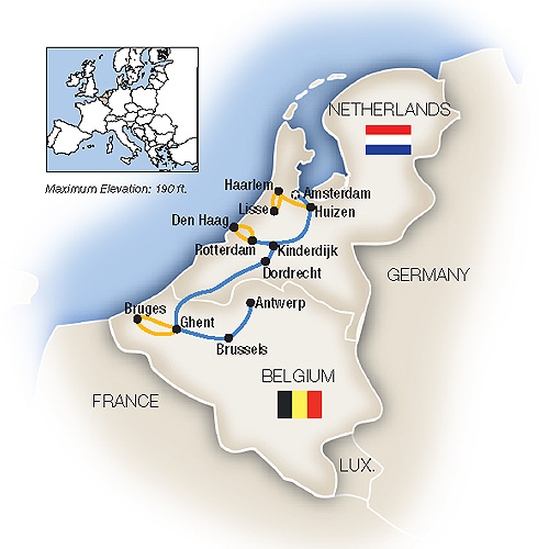 Itinerary map of Holland & Belgium in Spring - Southbound