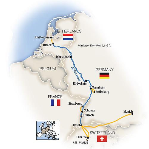 Itinerary map of Autumn Along the Rhine... Munich