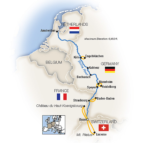 Itinerary map of The Romantic Rhine: Basel to Amsterdam - Northbound