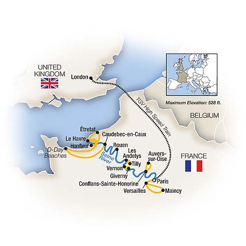 Itinerary map of Cruising the Seine plus Versailles, Paris and London - Northbound