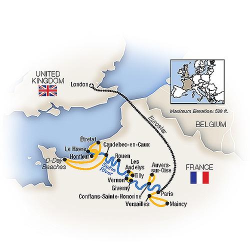 Itinerary map of Cruising the Seine plus Paris & London
