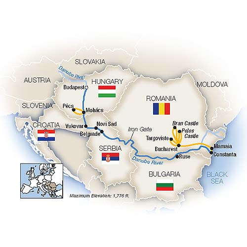 Itinerary map of Budapest to the Black Sea - Eastbound