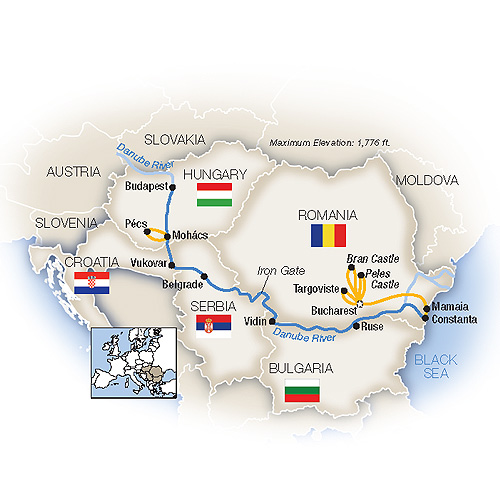 Itinerary map of The Black Sea to Budapest - Westbound