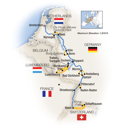 Itinerary map of The Rhine and Moselle - Southbound