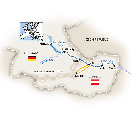 Itinerary map of Christmas Markets Along the Danube - Eastbound