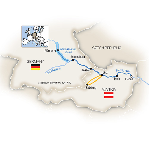 Itinerary map of Christmas Markets Along the Danube - Westbound