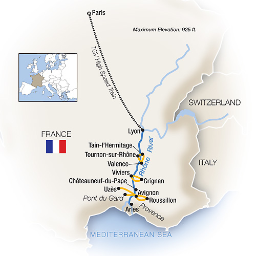 Itinerary map of Savoring France: Paris, Lyon & Provence