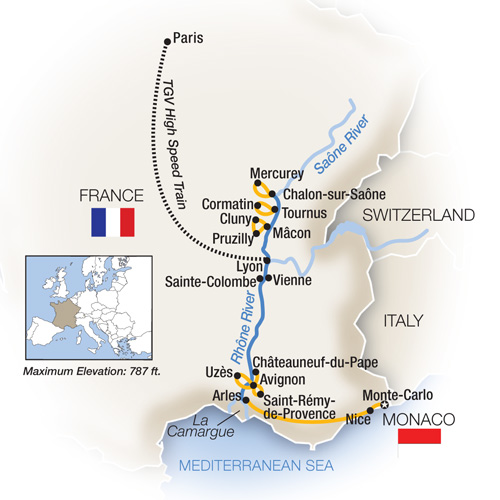 Itinerary map of French Escapade: Monte-Carlo to Paris - Northbound