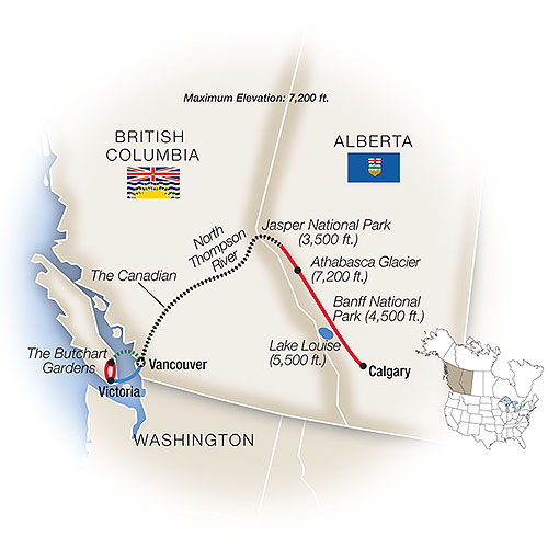Itinerary map of Grand Canadian Rockies