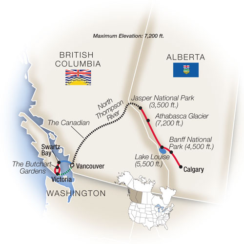 Map for Grand Canadian Rockies