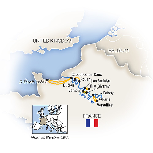 Itinerary map of Impressions from the Seine: Paris to Normandy