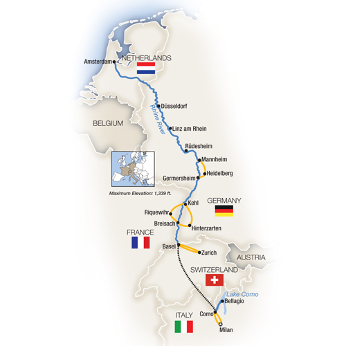 Itinerary map of Rhine Enchantment, Milan to Amsterdam