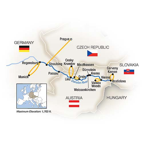 Itinerary map of Danube Reflections - Eastbound