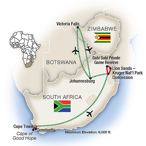 Itinerary map of South Africa: An Elegant Adventure