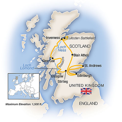 Itinerary map of A Week In... Scotland