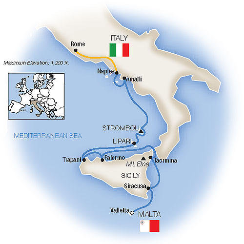 Itinerary map of Sicily, the Amalfi Coast & Rome - Northbound