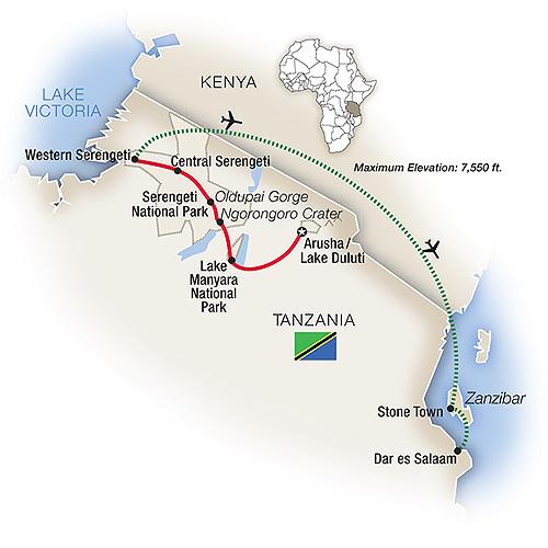 Itinerary map of Tanzania: Serengeti to Zanzibar