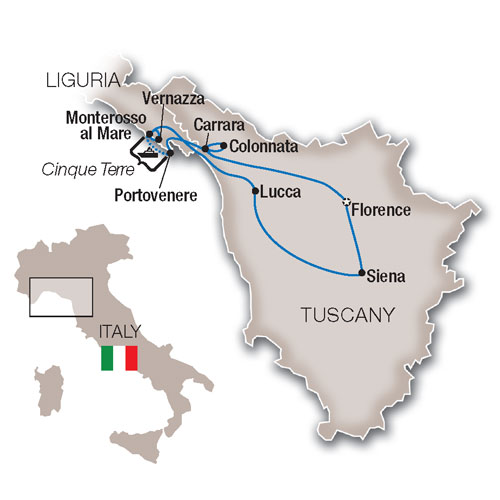 Itinerary map of Tuscany & Cinque Terre