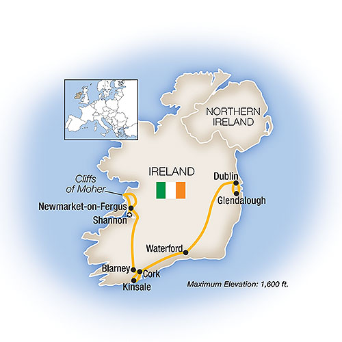 Itinerary map of A Week In... Ireland