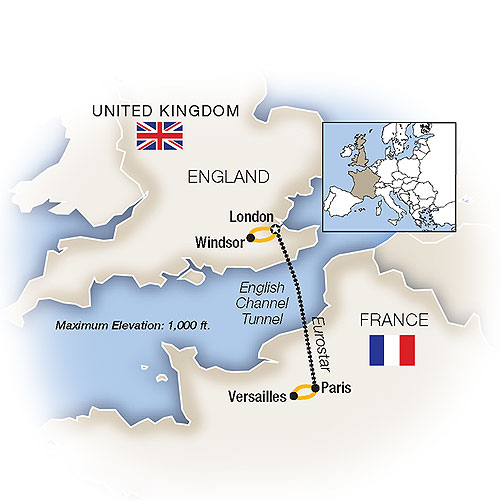 Itinerary map of A Week In... London and Paris