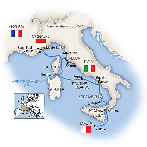 Itinerary map of Treasures of the Mediterranean - Northbound