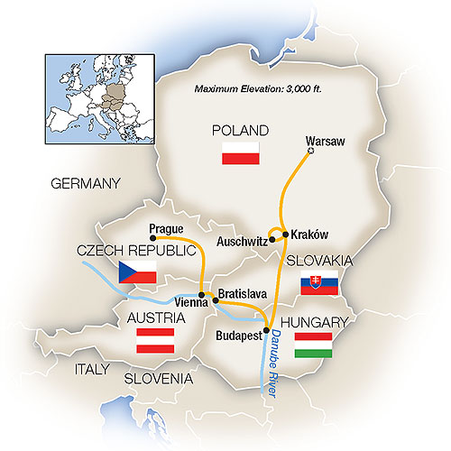 Itinerary map of Warsaw, Budapest, Vienna & Prague